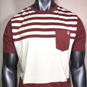 Volcom men's striped T-shirt large brown cream